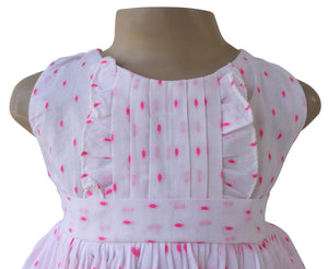 Girls cotton dress_Faye Pink Swiss Dot Dress