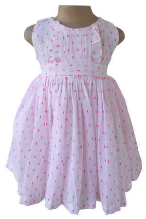 Kids cotton dress_Faye Pink Swiss Dot Dress