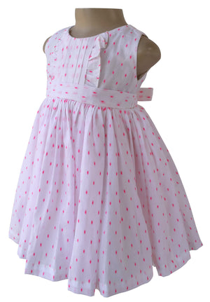 cotton dress_Faye Pink Swiss Dot Dress
