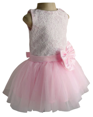Pink & White Lace Tutu Dress for Kids