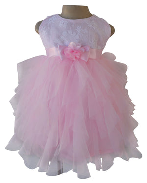 Faye Pink & White Waterfall Dress for Girls