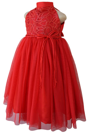 Gown for Kids_Faye Red Embroidered Gown