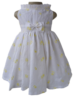 Kids Dress_Yellow Embroidered Floral Dress_Faye