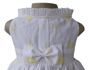 Kids Dress_Yellow Embroidered Floral Dress