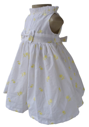 Kids Wear_Yellow Embroidered Floral Dress