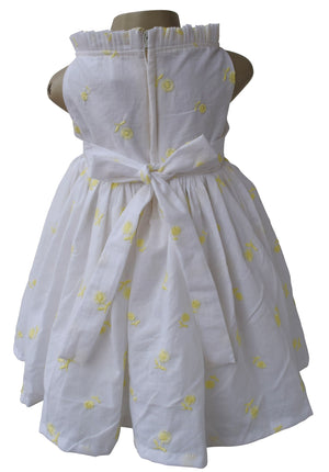 Cotton Dress for Kids_Yellow Embroidered Floral Dress