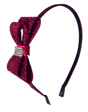 Fuchsia Glitter Bow Kids Hair Band