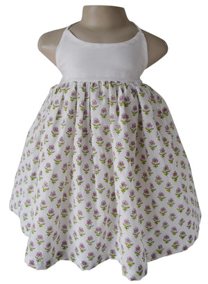 Kids Dress_Green & White Hand Block Printed Cotton Dress