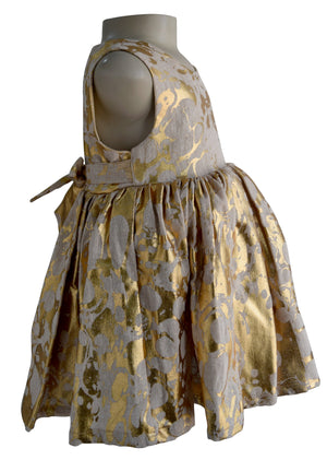 Kids Wear_Faye Gold Jute Foil Print Dress