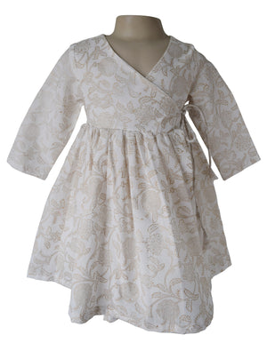 Baby girl Dress_Gold printed with Tie Dress