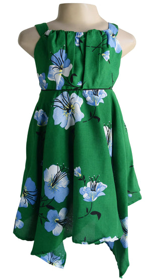 Green Hibiscus Print Cotton Dress for girls