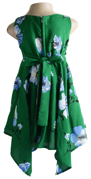 Green Green Hibiscus Print Dress
