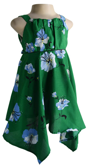 Green Hibiscus Print Cotton Dress