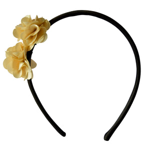 Kids Hair Band with Two Gold coloured Satin flowers on Black Satin