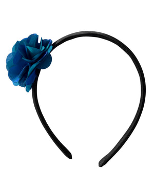 Hair band with Peacock Blue colour satin Flower on Black Satin