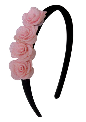 Pink 4 small flowers on Black Satin Hair Band