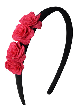 Hair band with 4 Fuchsia small flowers on Black Satin Hair Band