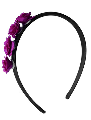 Hair Band with 4 Wine small flowers on Black Satin