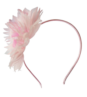 Pink Big Flower on Pink Satin Hair Band