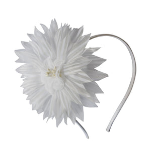 White Big Flower on White Satin Hair Band
