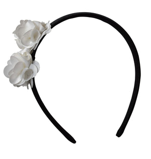 Hair bands_Ivory 2 flowers on Black Satin