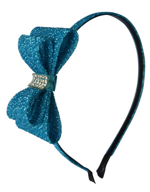 Light Blue Glitter Bow Kids Hair Band