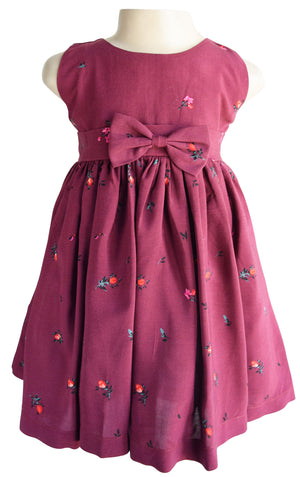 Maroon Floral baby girl Dress
