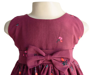 Maroon Floral Girls Dress