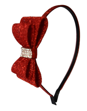 Maroon Glitter Bow Kids Hair Band
