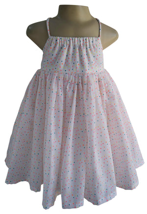 Multi dot Cotton Strappy Dress for girls