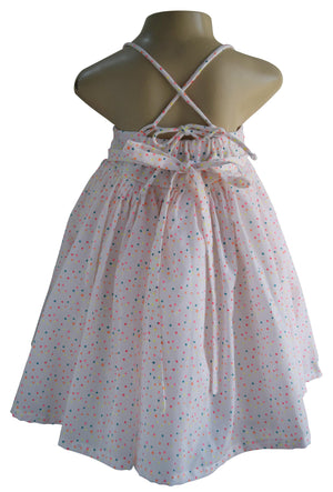 Multi dot Cotton Strappy Dress for baby girls