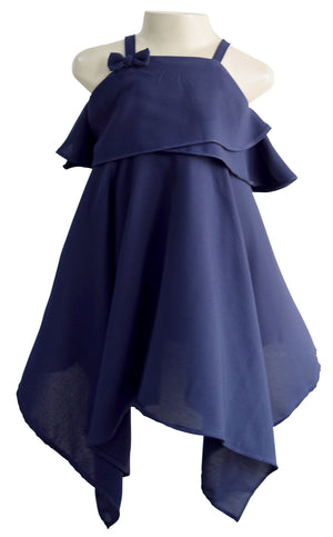 Faye Navy Kerchief Dress for Girls