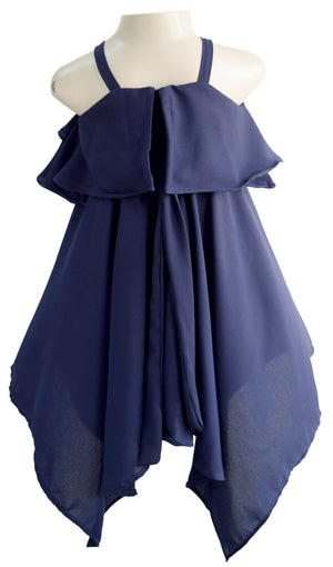 Faye Navy Kerchief Dress for baby girls