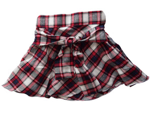 Red & White checks Skirt for Girls