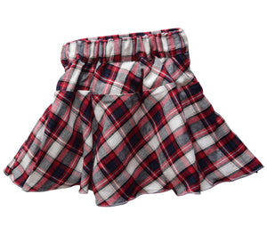 Red & White checks Skirt for Kids