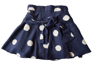 Blue Sapphire Skirt with Ivory polka print