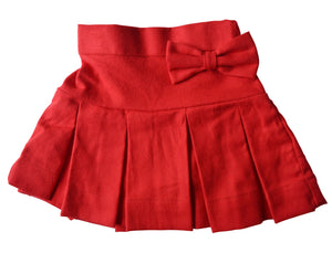 Kids Skirts_Faye Red Pleated Twill Skirt