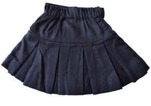 Kidswear_Faye Blue Pleated Twill Skirt