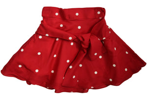 Kidswear_Faye Red & Ivory Polka Skirt with Flared hem