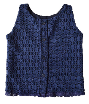 Top for Kid Girls_Blue crochet crop top