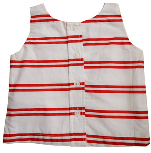 Red & Ivory Striped Top to go with skirts