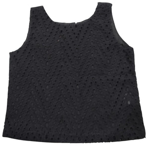 Kids Tops_Black Eyelet Top