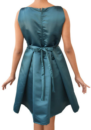 Teal Green Pleated Party Dress for Teens