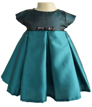 Faye Teal Pleated Baby Girl Dress