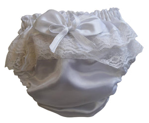 Bloomer for baby girls_Faye White Satin Bloomers