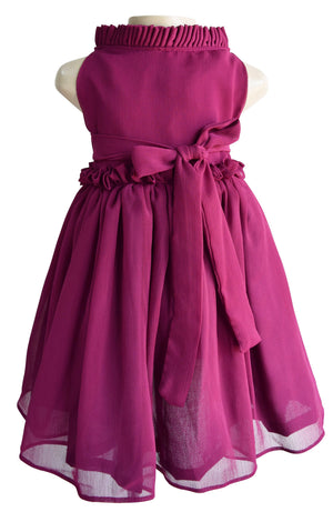 Wine Ruffle Kids Party Dress