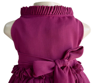 Wine Ruffle Dress