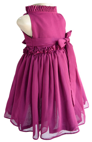 Wine Ruffle Dress for girls