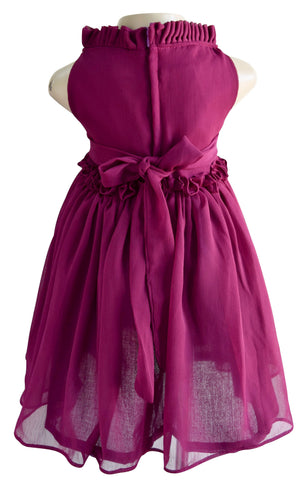 Wine Ruffle Dress for kids
