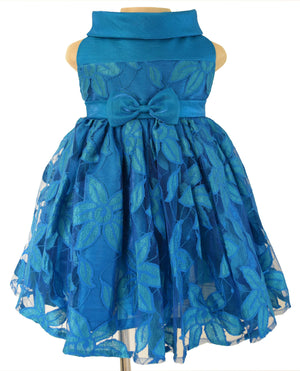 Kids Dresses_Faye Peacock Blue Lace Ceremonial Dress